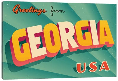 Greetings From Georgia Canvas Art Print