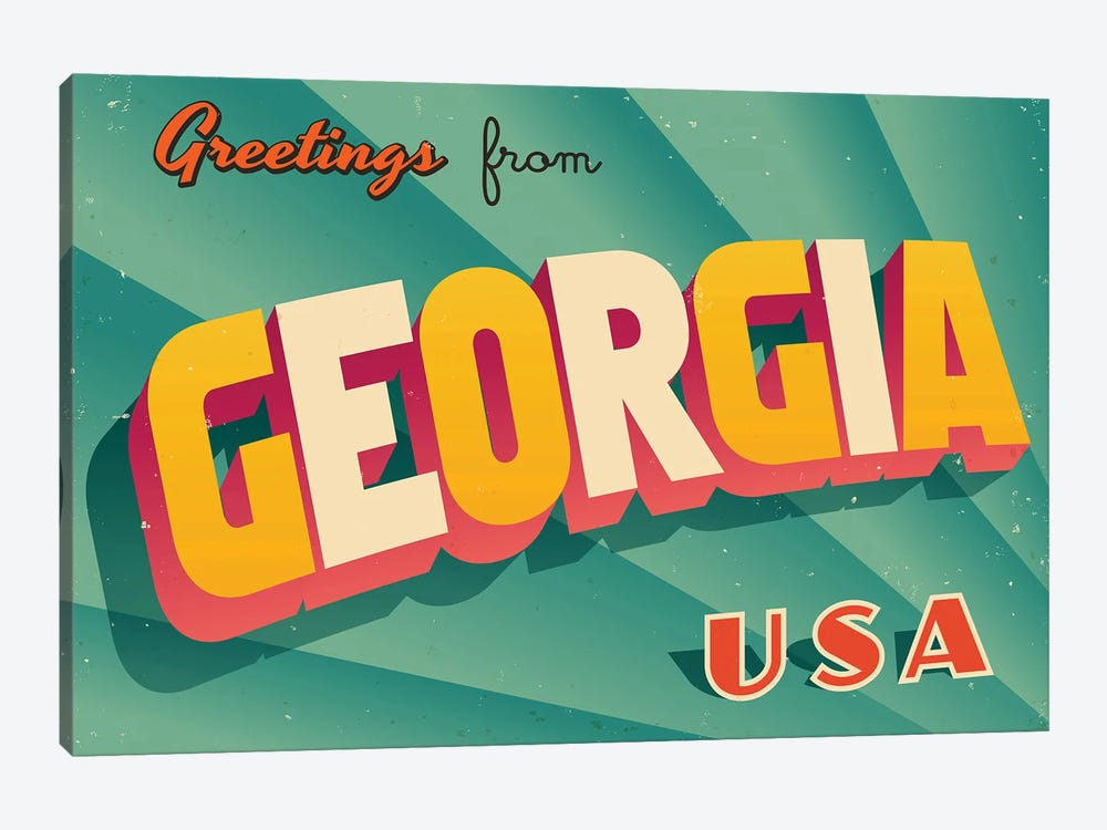 Greetings From Georgia by RealCallahan 1-piece Canvas Wall Art
