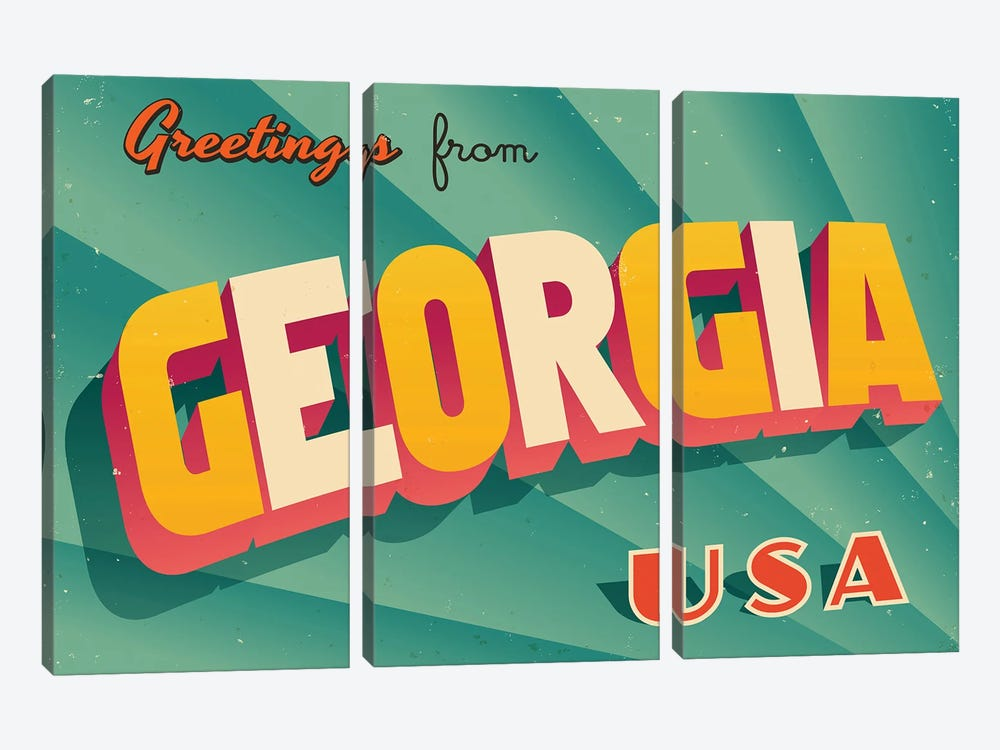Greetings From Georgia by RealCallahan 3-piece Canvas Artwork