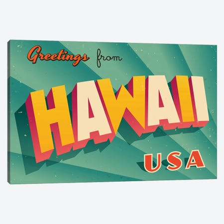 Greetings From Hawaii 3-Piece Canvas #DPT187} by RealCallahan Canvas Art Print