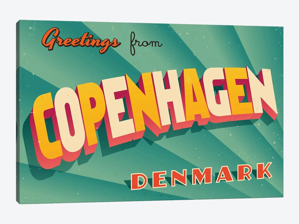 Greetings From Copenhagen by RealCallahan 1-piece Canvas Art Print