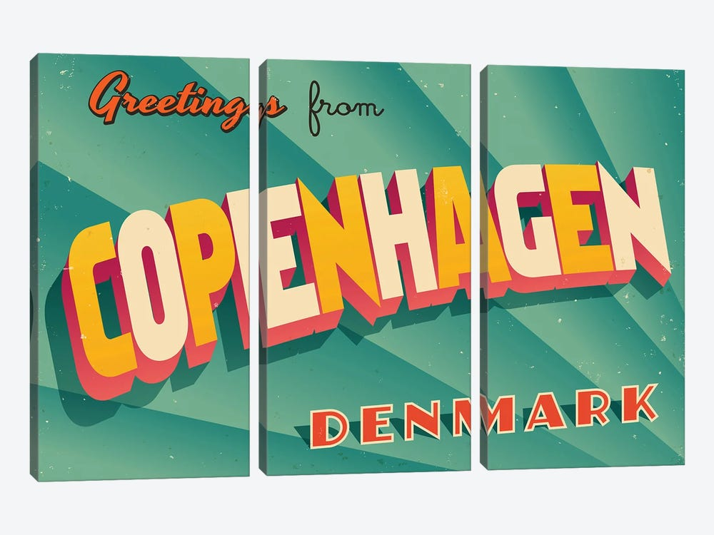 Greetings From Copenhagen by RealCallahan 3-piece Canvas Art Print
