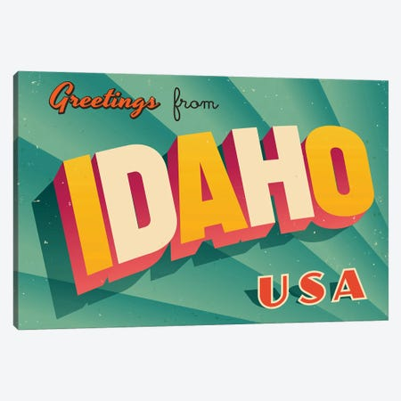 Greetings From Idaho Canvas Print #DPT190} by RealCallahan Canvas Print