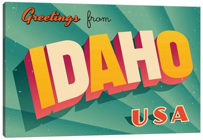 Greetings From Idaho Canvas Art Print