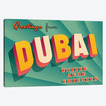 Greetings From Dubai Canvas Print #DPT191} by RealCallahan Art Print