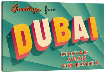 Greetings From Dubai Canvas Art Print