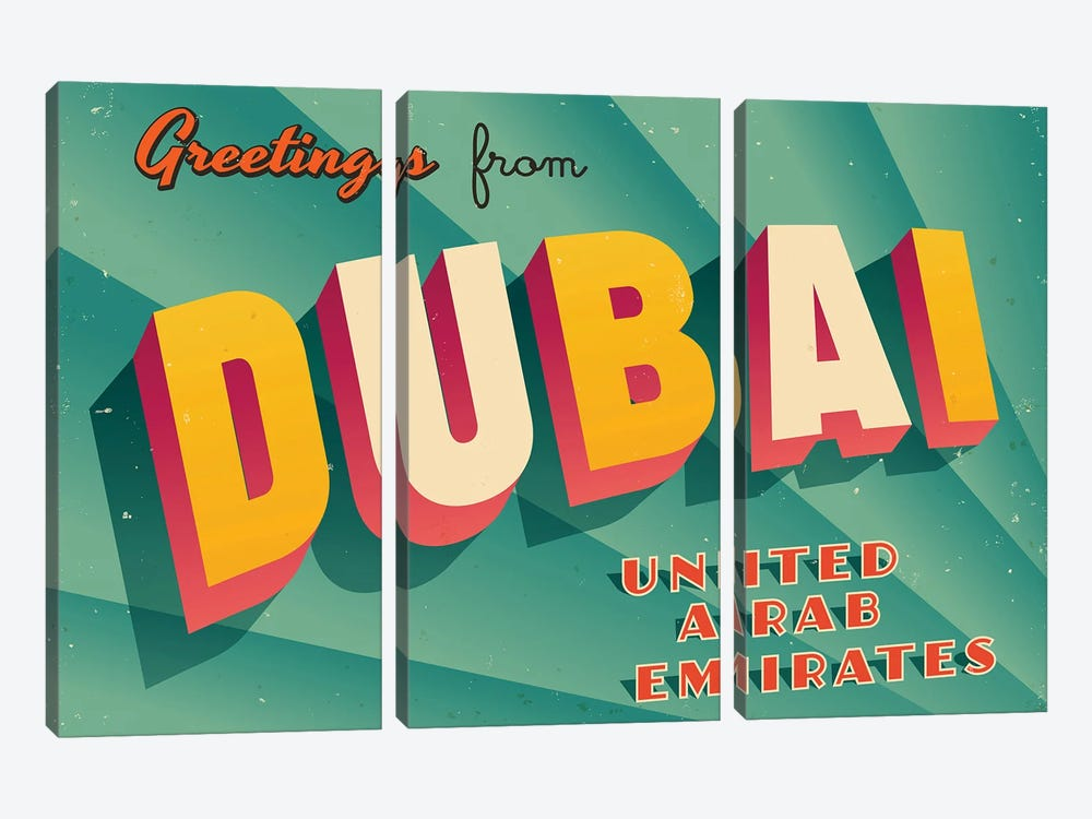 Greetings From Dubai by RealCallahan 3-piece Canvas Art