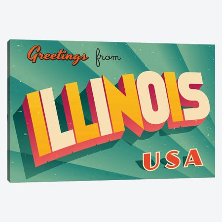 Greetings From Illinois Canvas Print #DPT192} by RealCallahan Canvas Art Print
