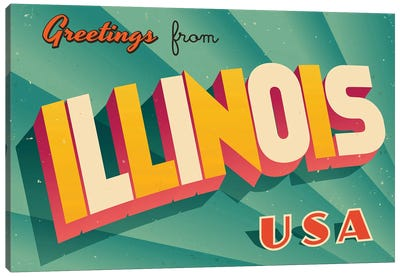 Greetings From Illinois Canvas Art Print