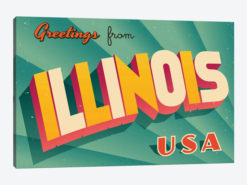 Greetings From Illinois by RealCallahan 1-piece Canvas Print