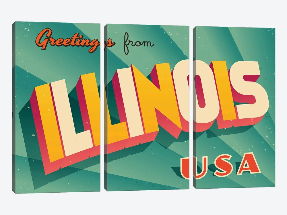 Greetings From Illinois by RealCallahan 3-piece Canvas Art Print
