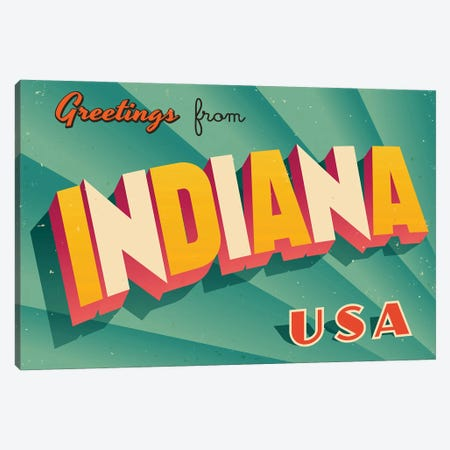 Greetings From Indiana Canvas Print #DPT193} by RealCallahan Canvas Art Print