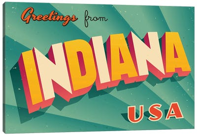 Greetings From Indiana Canvas Art Print