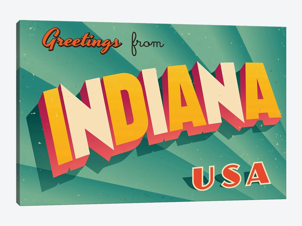 Greetings From Indiana by RealCallahan 1-piece Canvas Artwork