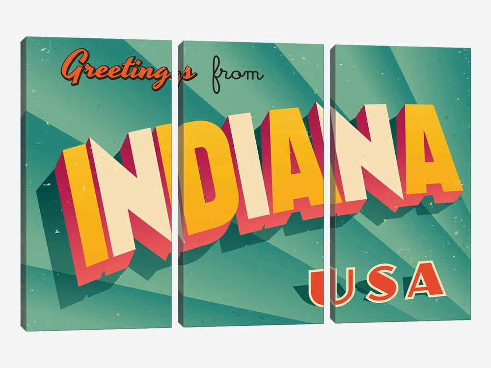Greetings From Indiana by RealCallahan 3-piece Canvas Artwork