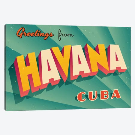 Greetings From Havana Canvas Print #DPT194} by RealCallahan Canvas Artwork