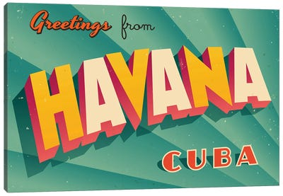 Greetings From Havana Canvas Art Print