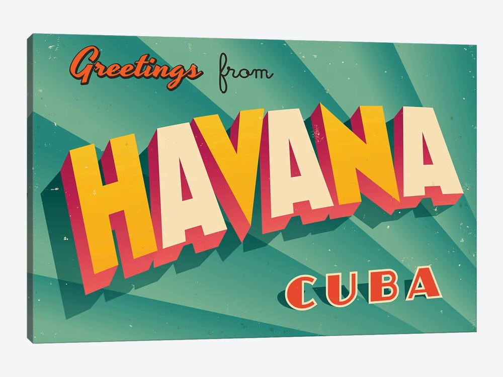 Greetings From Havana by RealCallahan 1-piece Canvas Print