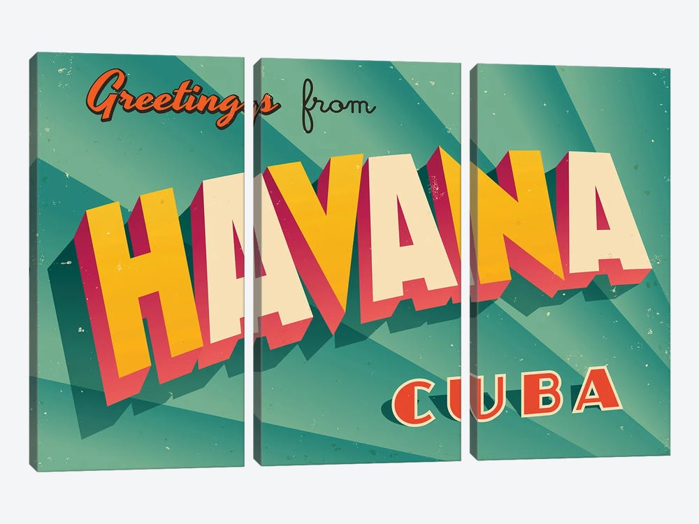 Greetings From Havana by RealCallahan 3-piece Canvas Art Print