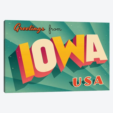 Greetings From Iowa Canvas Print #DPT195} by RealCallahan Canvas Wall Art