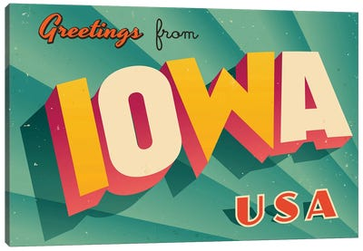 Greetings From Iowa Canvas Art Print