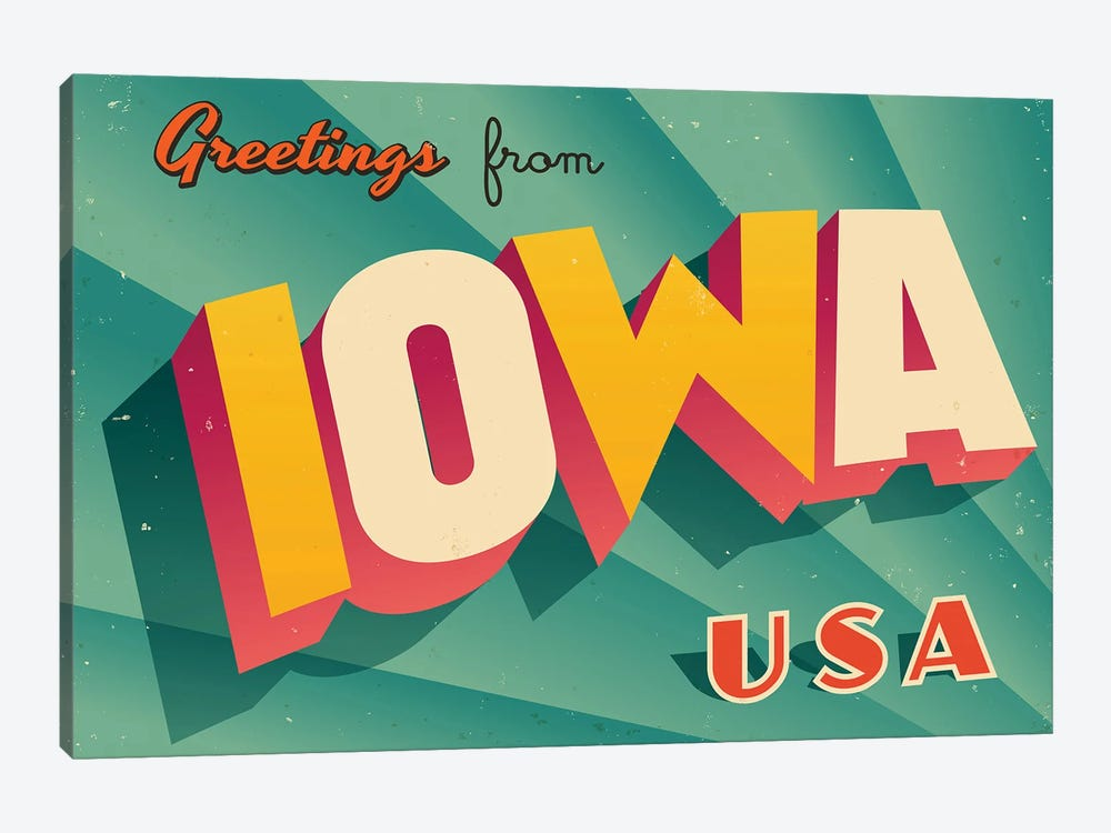 Greetings From Iowa by RealCallahan 1-piece Canvas Artwork