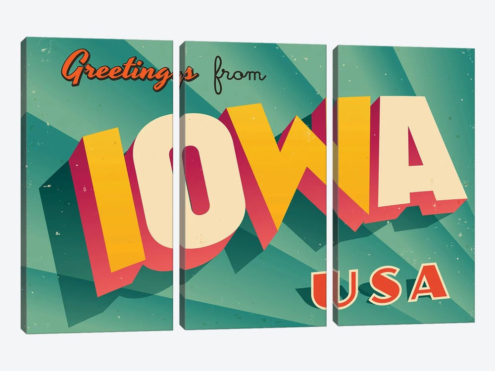 Greetings From Iowa by RealCallahan 3-piece Canvas Wall Art