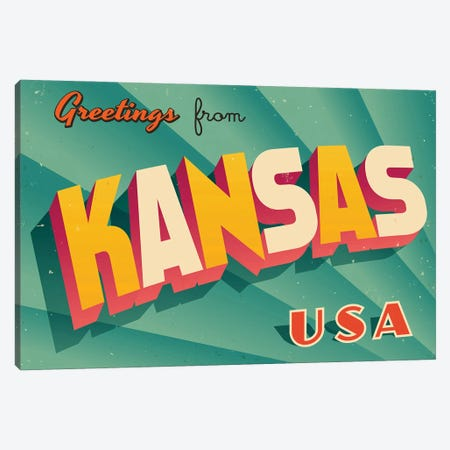 Greetings From Kansas Canvas Print #DPT196} by RealCallahan Canvas Artwork