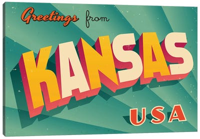 Greetings From Kansas Canvas Art Print