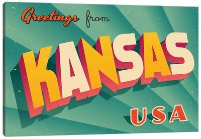 Greetings From Kansas Canvas Art Print