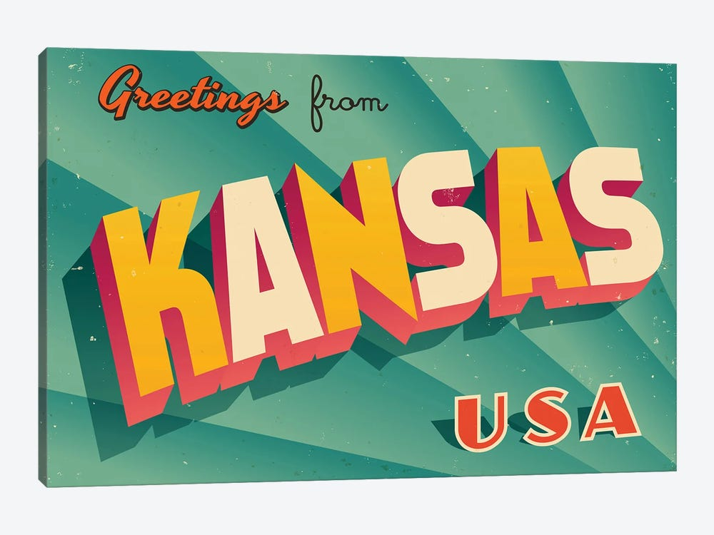 Greetings From Kansas by RealCallahan 1-piece Canvas Print