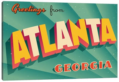 Greetings From Atlanta Canvas Art Print