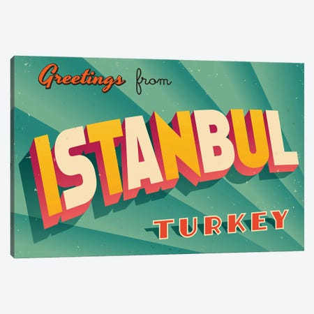 Greetings From Istanbul Canvas Print #DPT198} by RealCallahan Canvas Print