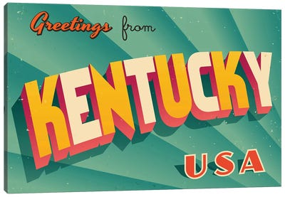 Greetings From Kentucky Canvas Art Print