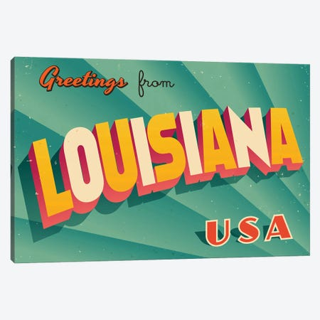 Greetings From Louisiana Canvas Print #DPT200} by RealCallahan Art Print