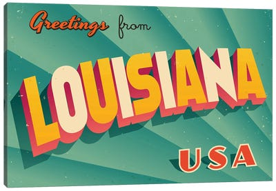 Greetings From Louisiana Canvas Art Print