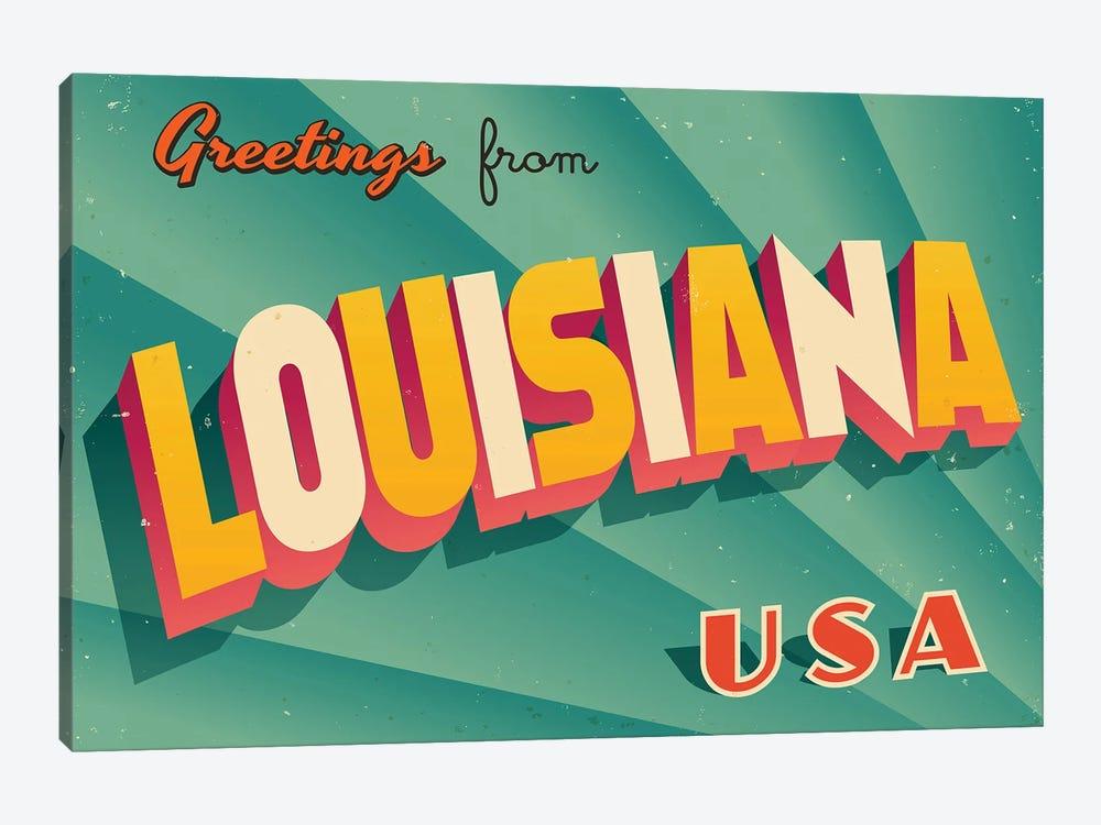 Greetings From Louisiana by RealCallahan 1-piece Canvas Wall Art
