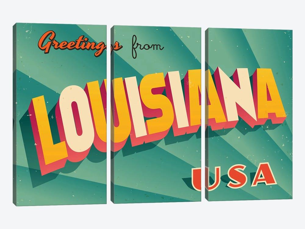 Greetings From Louisiana by RealCallahan 3-piece Canvas Wall Art