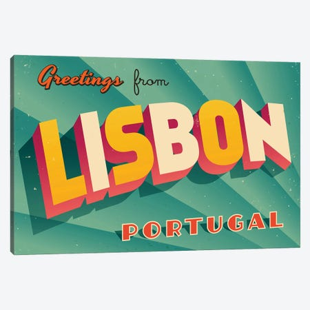 Greetings From Lisbon Canvas Print #DPT201} by RealCallahan Canvas Print