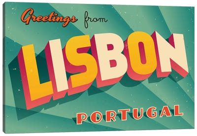 Greetings From Lisbon Canvas Art Print