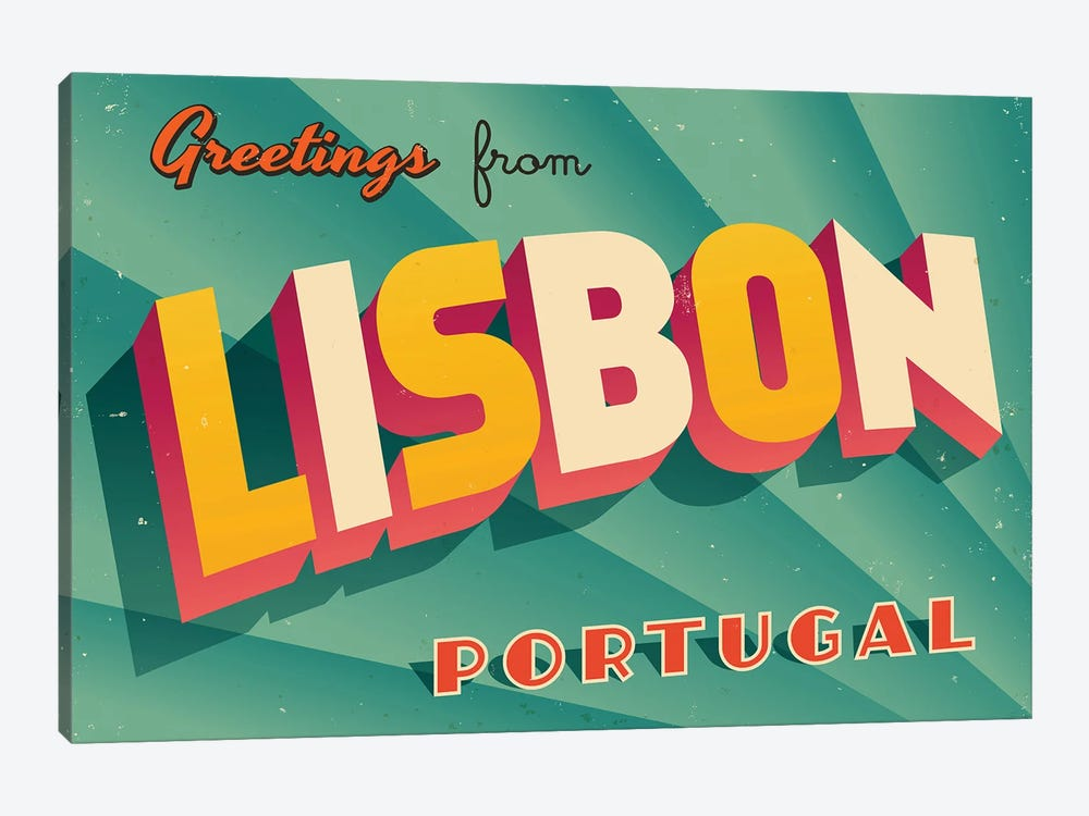 Greetings From Lisbon by RealCallahan 1-piece Canvas Art Print