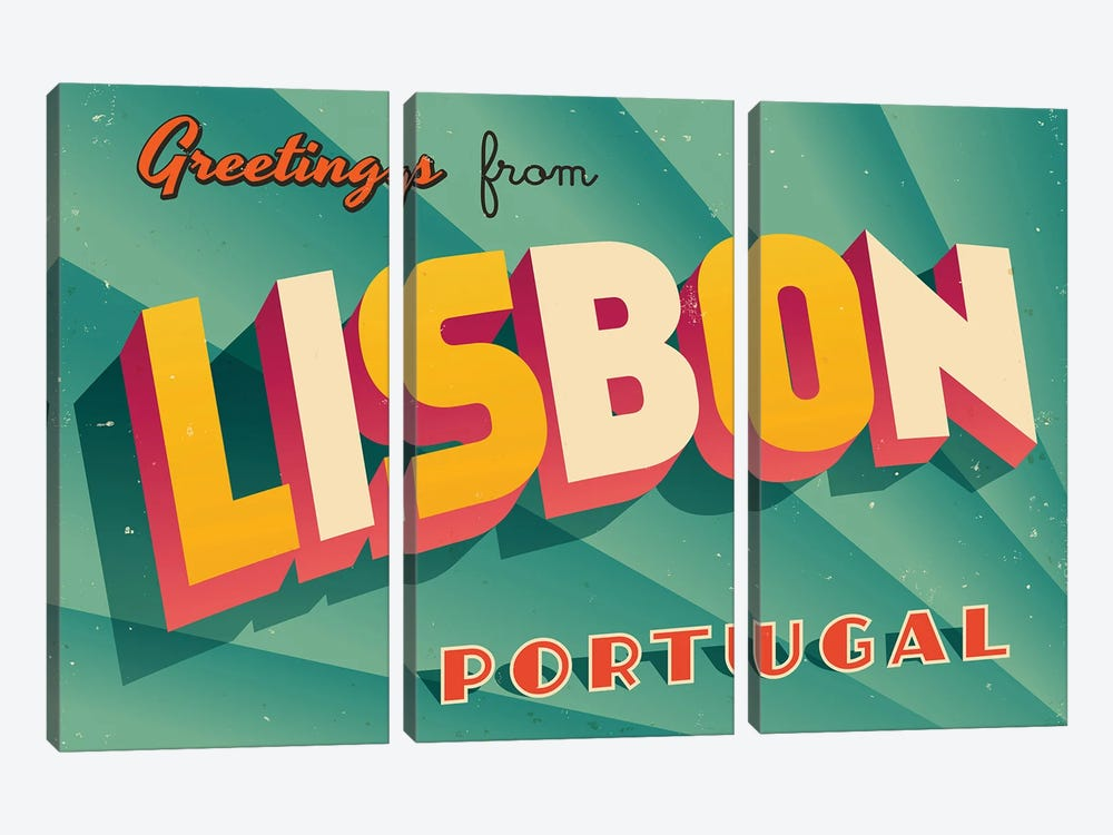 Greetings From Lisbon by RealCallahan 3-piece Art Print