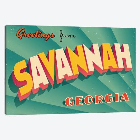 Greetings From Savannah Canvas Print #DPT202} by RealCallahan Canvas Art Print