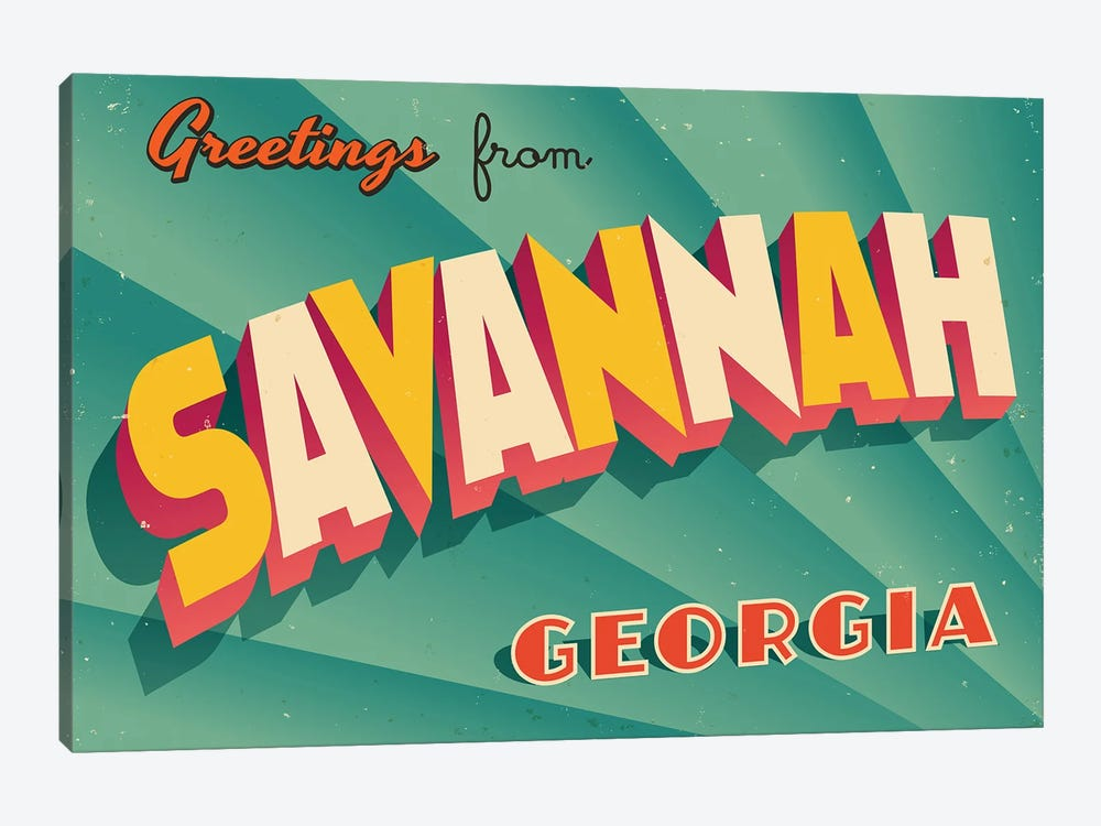 Greetings From Savannah by RealCallahan 1-piece Canvas Artwork