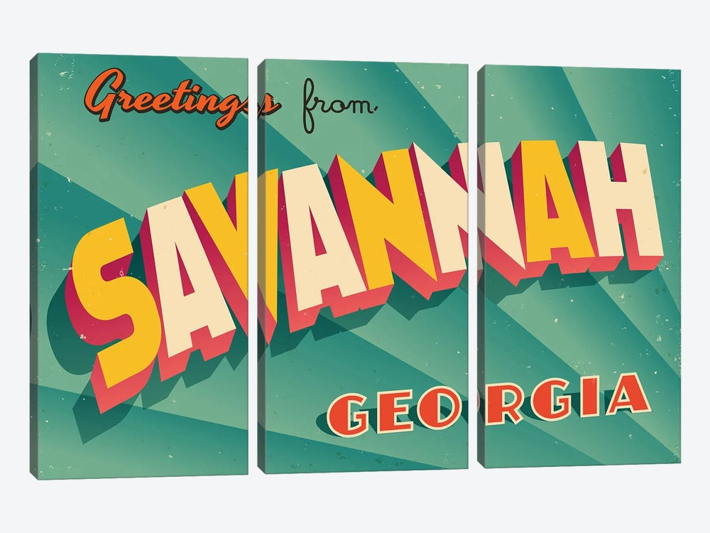 Greetings From Savannah by RealCallahan 3-piece Canvas Wall Art