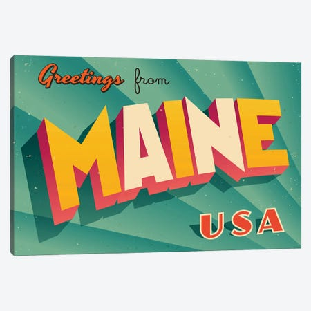 Greetings From Maine Canvas Print #DPT203} by RealCallahan Canvas Art Print