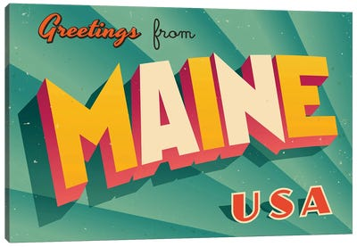 Greetings From Maine Canvas Art Print