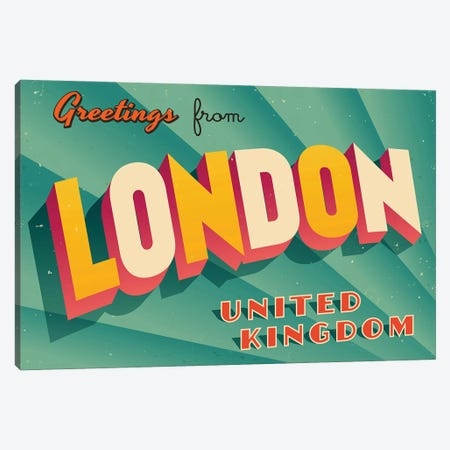 Greetings From London Canvas Print #DPT204} by RealCallahan Canvas Artwork