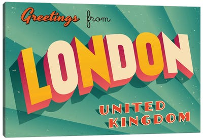 Greetings From London Canvas Art Print