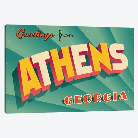 Greetings From Athens, Georgia Canvas Print #DPT205} by RealCallahan Canvas Artwork